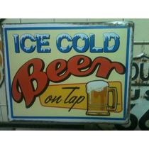 Poster Decorativo Lamina Vintage Retro Bar Cerveza Fria En T