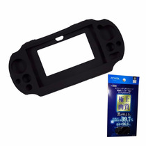 Kit Ps Vita Funda Silicon Y Micas Frontal Y Trasera
