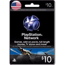 Tarjeta Gift Card Playstation Network $10 Usd Para Ps3 Y Ps4