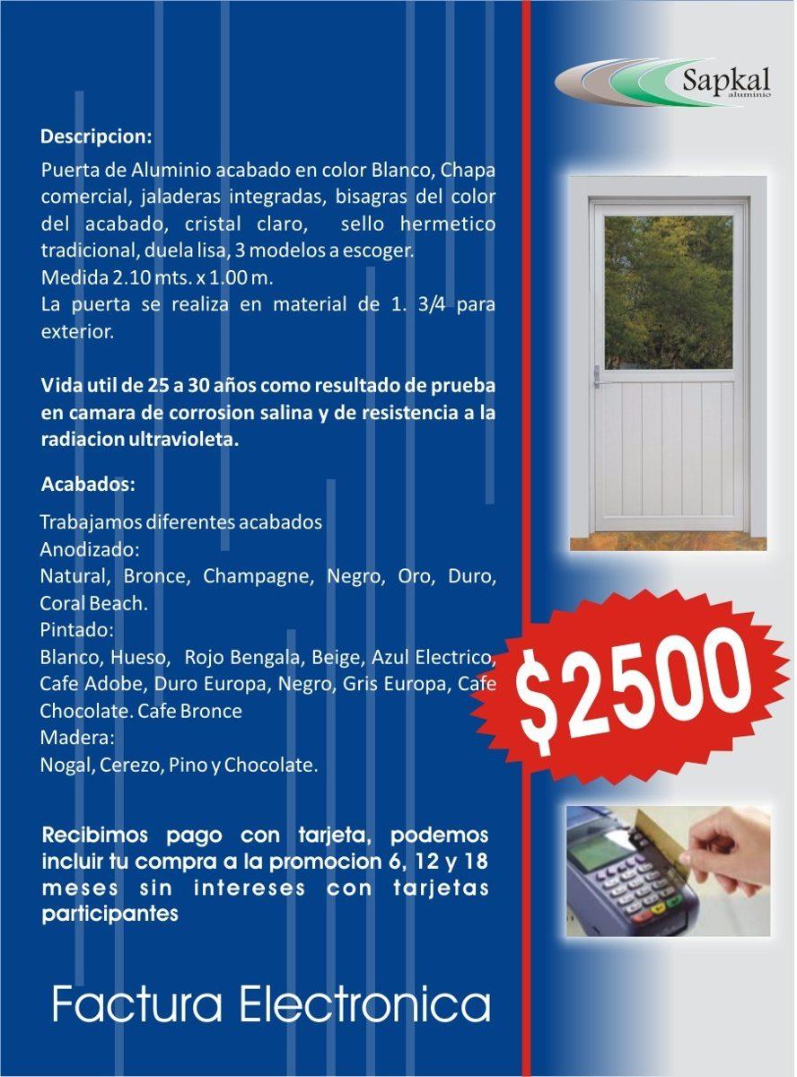 Puerta de aluminio exterior blanca 1 en - Puerta de aluminio exterior precio ...
