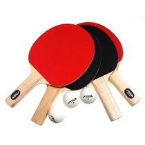 Set De 4 Raquetas De Ping Pong Y 3 Pelotas Stiga One-star