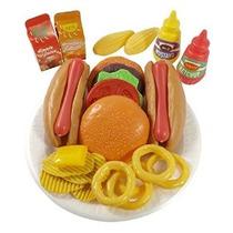 Burger & Hot Dog Food Fast Cooking Set De Juego Para Niños C