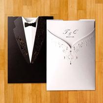 Invitación De Boda Elegante Vestido Traje De Novios