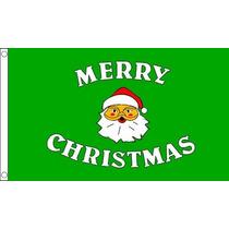 Decoración De Navidad - Feliz Verde 5ftx 3ft Bandera Con