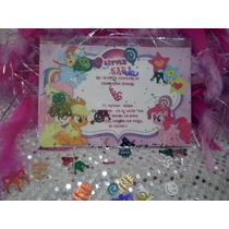 16 Invitaciones Little Pony Con Confetti Metalico
