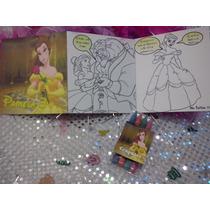 12 Invitaciones Bella Cuento Para Coloreal Y Crayolas