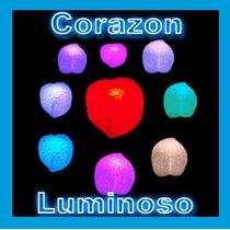 10 Corazones Luminosos Multicolor Luz Led Recuerdo Adorno