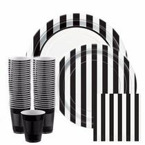 Kit Desechables 68 Pz Diseño Black&white Rayas