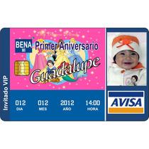Invitaciones Pvc Tipo Ife, Tarjeta De Credito 3 Años Bautizo