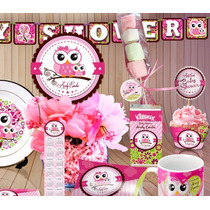 Invitacion Buho Rosa Baby Shower Kit Imprimible Candy Bar