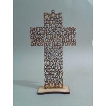 Cruz De Mdf Con Oración Padre Nuestro Madera Country 25 Cms.