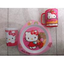 Set 3 Piezas Plato Vaso Y Taza Hello Kitty Melamina