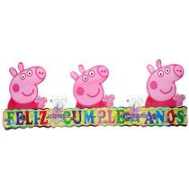 Peppa Letrero Feliz Cumpleaños O Mantel. Todo Para Tu Fiesta