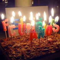 Velas Feliz Cumpleaños Pastel Fiesta Evento Letras Regalo