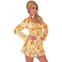 Medio Señoras Vestido Amarillo Retro Hippie De 60s Hippy