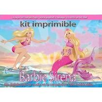 Gran Kit Imprimible Barbie Sirena Tarjetas Cumpleaños