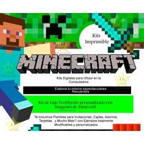 Kit Imprimible Minecraft Diseñá Tarjetas Invitaciones Mas