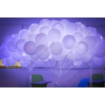 100 Globos Luz Led Blancos Fiestas, Bodas, Celebraciones