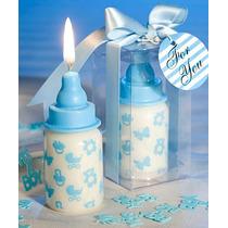 Recuerdos Para Baby Shower - Velas De Biberon Azul Y Rosa
