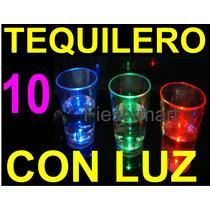 10 Caballitos Tequileros Con Luz Luminoso Vaso Luz Fiestas