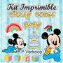 Kit Imprimible Mickey Mouse Bebe Baby Invitaciones Tarjetas