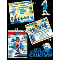Invitaciones De Pitufos-invitaciones Infantiles-smurfs