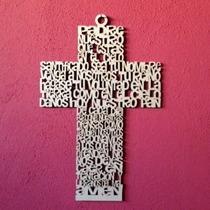 Cruz Padre Nuestro En Mdf 15 Cm