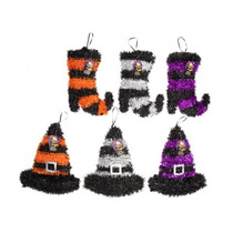 Decoración De Halloween - 2ast Brujas Sombrero O Boot Oropel