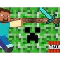 Kit Imprimible Minecraft, Invitaciones Y Cajitas