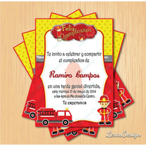 Kit Imprimible Fiesta Bomberos Firema + Candy Bar Personaliz