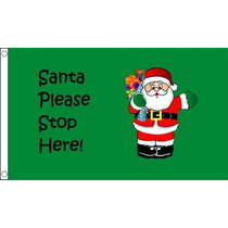 Papá Bandera - Stop Aquí Navidad De Navidad 5ftx 3ft Con E