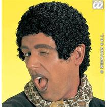 Afro Peluca Disfraz - 70s Wet Look Corto Negro Tom Jones