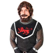 Traje De Caballero - Marrón Medieval Rey Peluca De Pelo De
