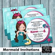 Invitaciones De Sirenita,little Mermaid Invitations,sirenita