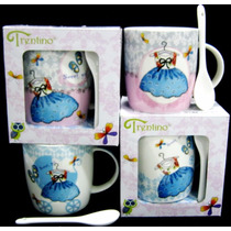 Taza Vestido / Pastel Ceramica 12 Oz Caja D Regalo Cuchara