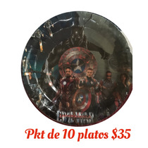 Pkt Fiesta 10 Platos Civil War Capitán América Iron Man