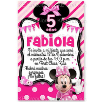 Invitaciones Kit Imprimible Minnie Mouse Rosa Disney Fiesta
