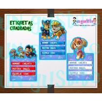 Kit Imprimible Etiquetas Escolares Paw Patrol 2x1
