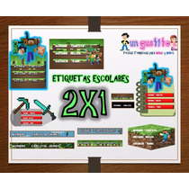 Kit Imprimible Etiquetas Escolares Minecraft 2x1