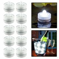 12 Velas Sumergibles Blancas Led Centros De Mesa Luz Boda