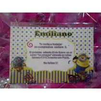 16 Invitaciones Minions Con Confetti Metalico