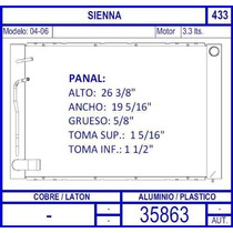 Radiador Toyota Sienna Motor 3.3 Lts 2004 2005 2006