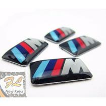 Juego 4 Emblemas /// M Bmw Rines,volante,tablero Aluminio 3m