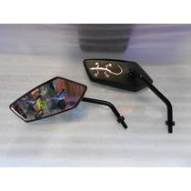 Espejos Para Motocicleta Color Negro Iguana Color Plata 8mm
