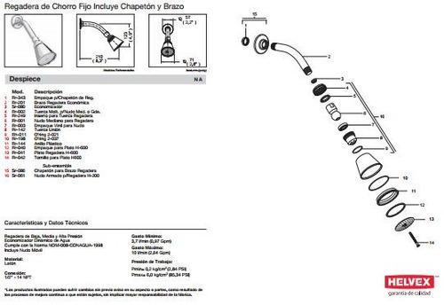 Baño De Bebe En Regadera:Regadera De Baño Helvex Mod H – 200 Sp0 – $ 1,05100 en MercadoLibre
