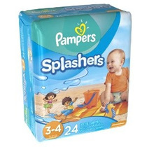 Pampers Splashers Swim Pants Tamaño 3/4 Pañales 24 Count (pa