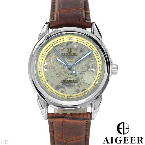 Reloj Algeer Automático, Hombre, Acero Inoxidable Piel 1 Flr