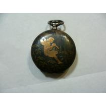Antiguo Reloj En Plata Para Dama Incrustacion Angel En Oro