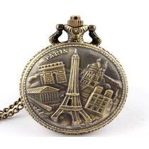 Reloj Bolsillo Collar Paris Torre Eiffel Vintage Quarzo