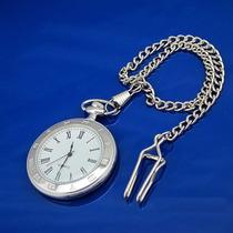 Reloj De Bolsillo Color Plateado Numeros Romanos Para Padre